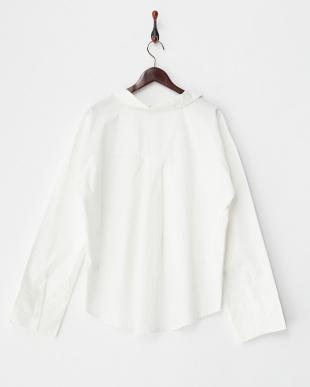 ホワイト  BIGカフスコットンスキッパーシャツ見る