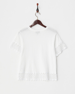 WHITE LACE PANEL TEE見る