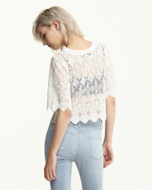 WHITE LACE SCALLOP トップス見る
