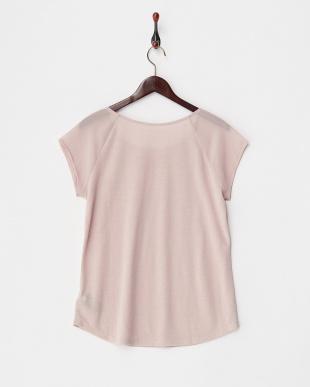 ピンク WMNS SS CORE FASHION TEES 袖シフォン切り替えラウンドネックTシャツ 見る