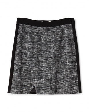 noir/blancツイード調配置ラップスカート見る