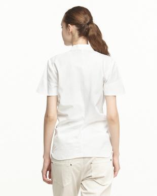 blancフロントリボン結び比翼シャツ見る