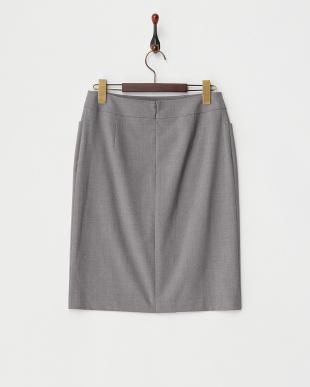 グレー シルク混ストレッチタイトスカート見る