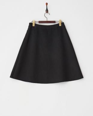 ブラック ウール台形スカート見る
