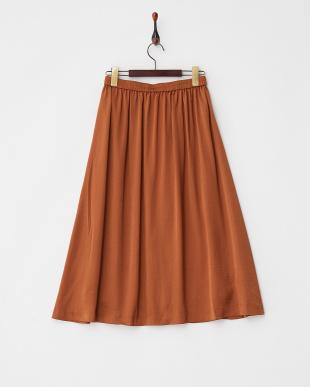 キャメル  ヴィンテージサテンミモレ丈スカート見る
