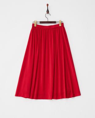 レッド  ヴィンテージサテンミモレ丈スカート見る