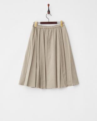 サンドベージュ  コットン混スエード調フレアスカート見る