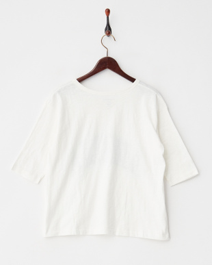 ホワイト カレッジプリント5分袖Tシャツ見る