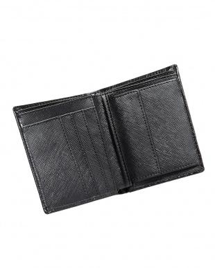 ブラック クロコ型押し2つ折財布見る