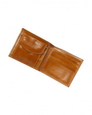 キャメル  イタリアンカーフ二つ折り財布見る