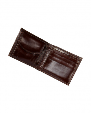 ブラウン  イタリアンカーフ二つ折り財布見る