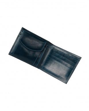 ネイビー  イタリアンカーフ二つ折り財布見る