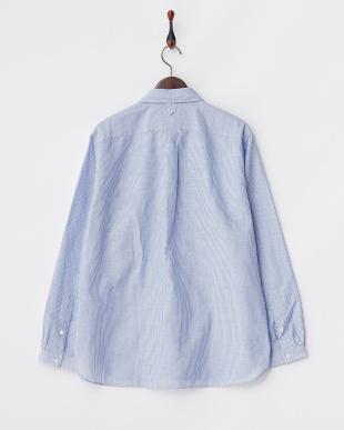 ブルー ストライプ  コットンリネンスラブ デタッチャブルカラーシャツ見る