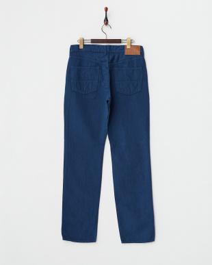 ブルー  綿麻5ポケットパンツ見る
