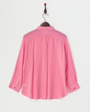 ピンク コットンシルク レギュラーシャツ見る