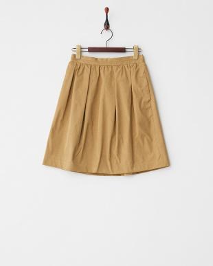 ベージュ ピーチツイルギャザースカート見る