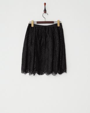 ブラック  ラメレーススカート見る