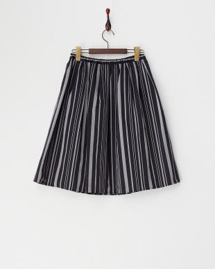 ネイビー  グログランストライプスカート見る