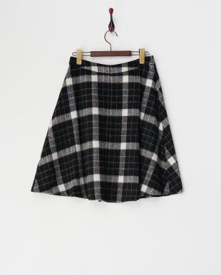 ブラック  シャギーチェックフレアスカート 見る