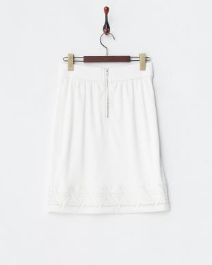 ホワイト  幾何学レース裾切り替えスカート見る