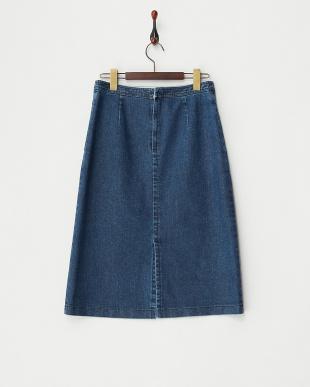 ブルー  デニムタイトスカート見る