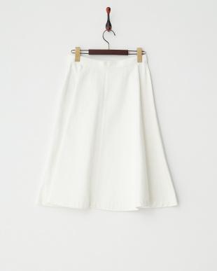 ホワイト コットンデニムフレアスカート 見る