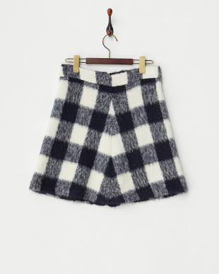 ネイビー×ホワイト Gingham zip skirt見る