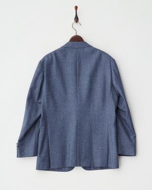 ブルー ヘリンボーン柄 杢調テーラードジャケット見る