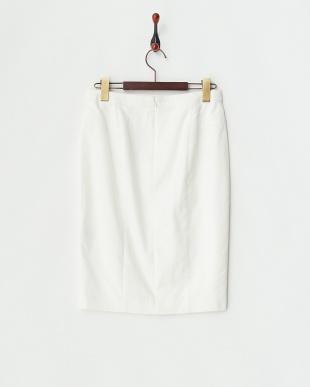 ホワイト コンパクトサテンタイトスカート見る