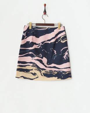 ピンク マーブルプリントグログランスカート見る