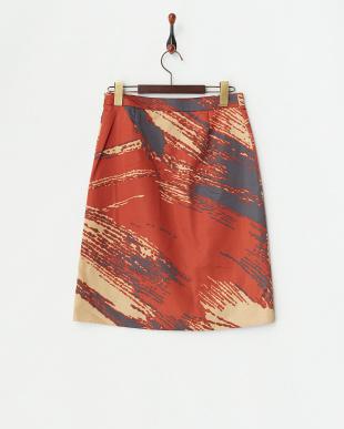 オレンジ ブラュシュプリントサテンサイドプリーツスカート見る