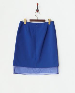 ブルー  裾オーガンジーボンディングスカート見る