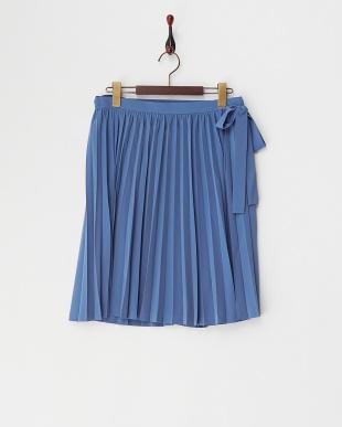 ブルー  PEデシンプリーツラップスカート見る