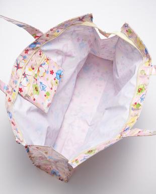 ピンク  花柄ZIP付きビッグビニールトート見る