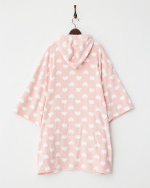ピンク  ハート ふわモコお着替えポンチョ見る
