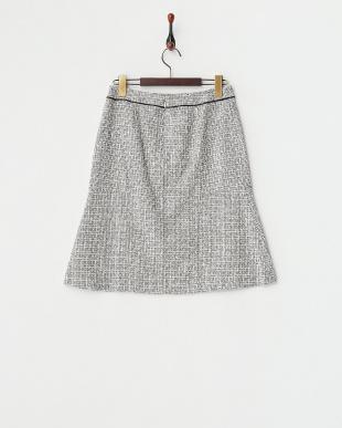 ブラック  ティントツィード Aラインスカート見る