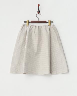 ベージュ スクエアドットメモリースカート見る
