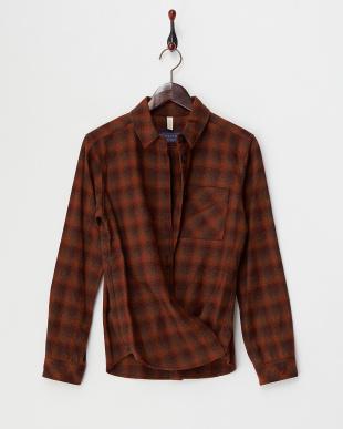 ブラウン系 ペンデルトンチェックウールシャツ見る