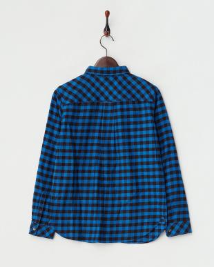 ブルー  ギンガムネルチェックシャツ見る