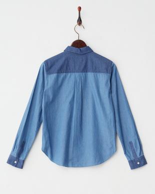 ブルー インディゴツイルシャツ見る