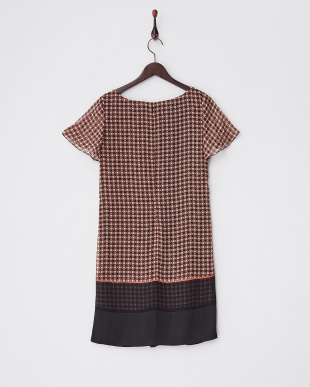 オレンジブラウン  裾切り替え小紋柄シフォンワンピース見る