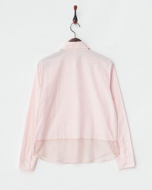 ピンク 異素材ミックス裾切り替えブロードシャツ見る