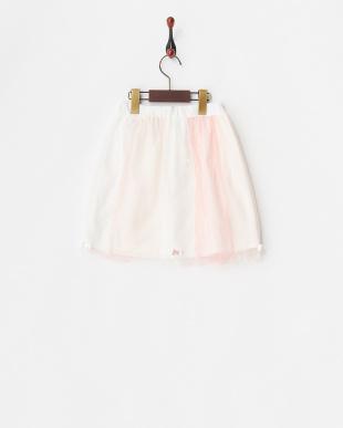 ピンク  切り替えチュールスカート見る
