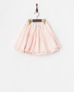 ピンク系 フラワープリント リバーシブルスカート見る