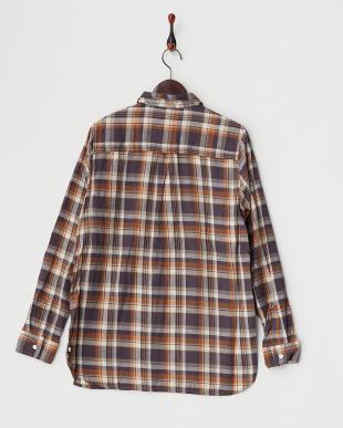 ネイビー  シルクネップ チェック2WAYカシュクールシャツ見る