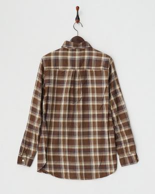 ブラウン  シルクネップ チェック2WAYカシュクールシャツ見る