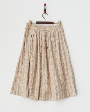 ベージュ ネイティブストライプスカート見る