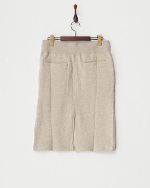 ベージュ  粗挽き杢ネップ裏毛 ヒザ丈スカート見る