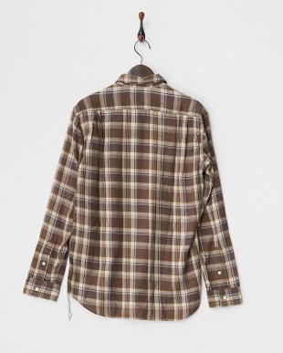 ブラウン  シルクネップチェック ベーシックシャツ見る