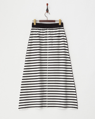 BLACK  ボーダーロングスカート見る